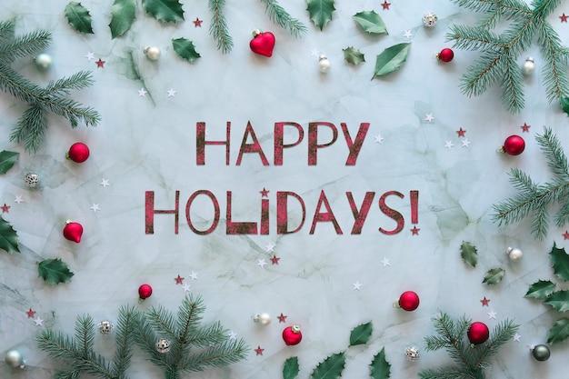 Noël plat était en gris, vert, argent et rouge avec texte joyeuses fêtes.