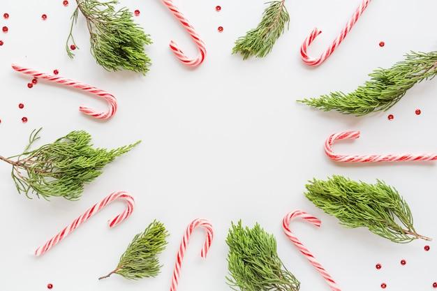 Noël plat poser avec des cannes de bonbon et des branches de sapin