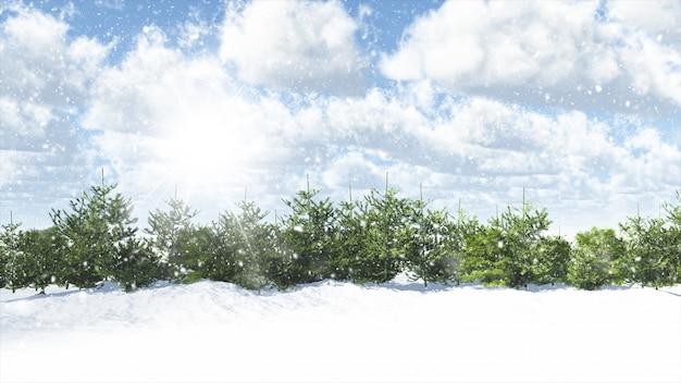 Noël scène d'hiver avec des sapins