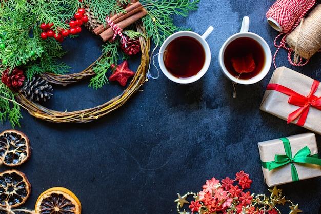 Noël thé fête fond cadeau festif