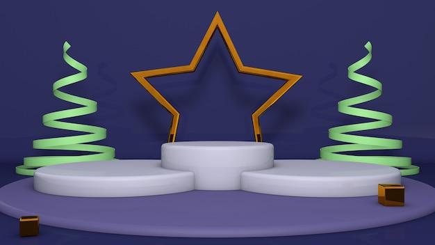 Noël trois podiums avec étoile d'or