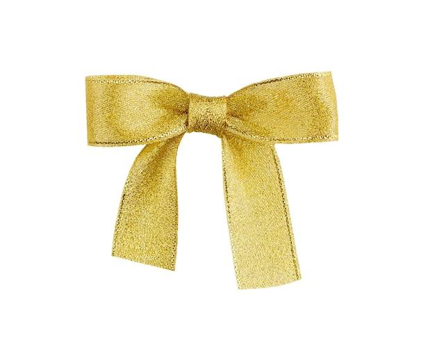 Noeud de ruban d'or isolé sur blanc. chemin de détourage