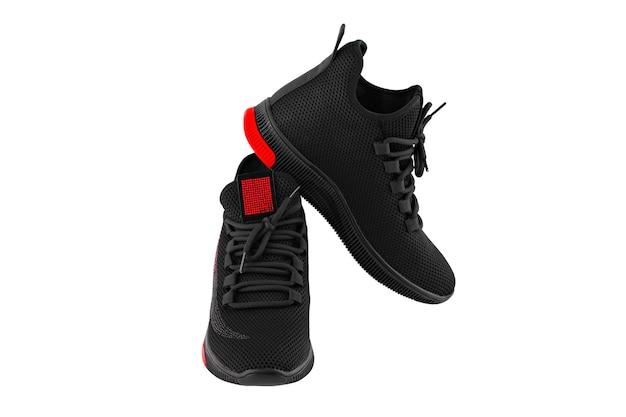 Noir avec des chaussures de sport rouges isoler
