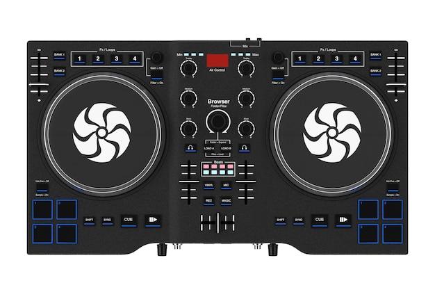 Noir moderne dj set turntable mixer equipment sur un fond blanc. rendu 3d