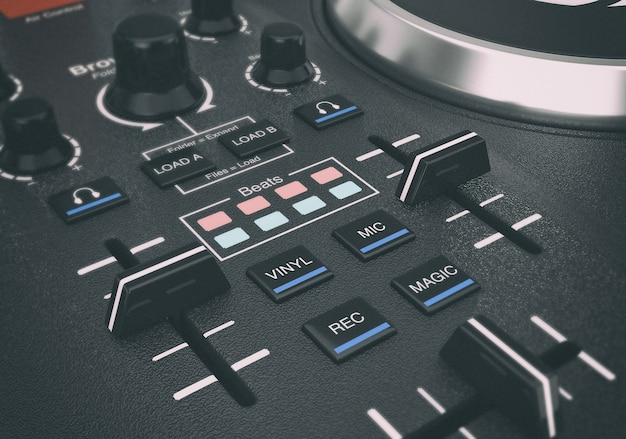 Noir moderne dj set turntable mixer equipment gros plan extrême. rendu 3d