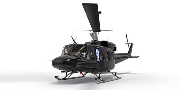 Noir petit hélicoptère de transport militaire sur fond isolé blanc