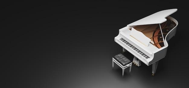 Noir d'un piano à queue blanc