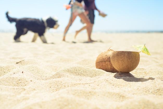 Noix de coco avec boisson sur la plage avec homme, femme et chien sur fond