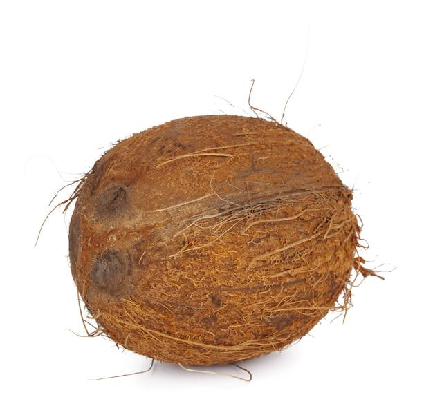 Noix de coco entière close up isolé sur fond blanc