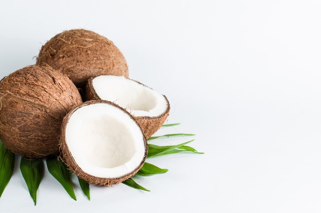 Noix de coco sur fond blanc