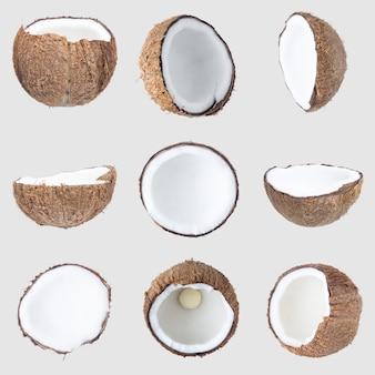 Noix de coco isolé sur gary chemin de détourage