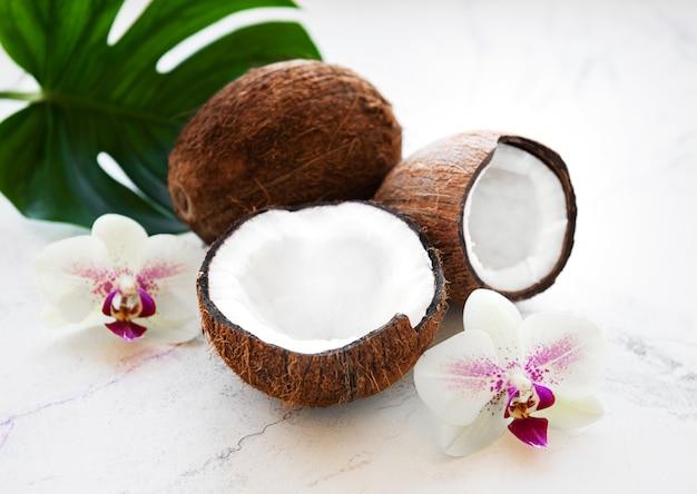 Noix de coco avec orchidées