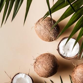 Noix de coco sur un pastel