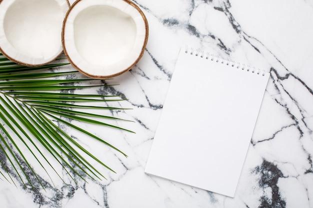 Noix de coco tropicale, palmier et cahier sur marbre