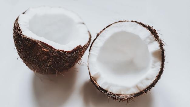 Noix de coco vue rapprochée de noix de coco macro