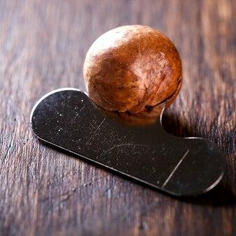 Noix de macadamia en coquillage sur fond en bois.
