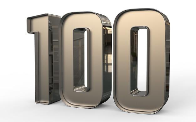 Nombre 3d 100 pour cent d'or
