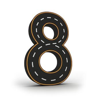 Nombre huit symboles des figures sous la forme d'une route