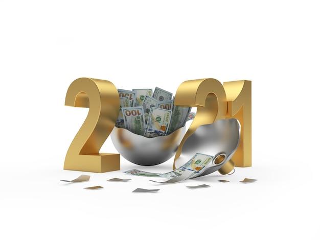 Nombre d'or 2021 et boule de noël cassée avec des billets d'un dollar sur blanc. illustration 3d