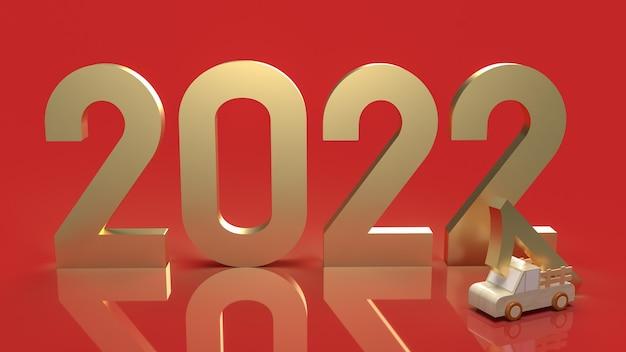 Le nombre d'or 2022 sur fond rouge pour le rendu 3d de concept de nouvel an.