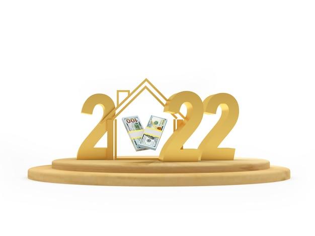 Nombre d'or du nouvel an avec une maison et des billets d'un dollar