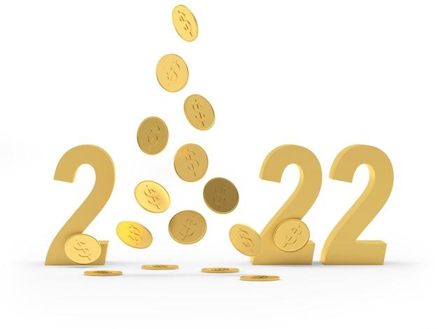 Nombre d'or du nouvel an avec des pièces en dollars en baisse