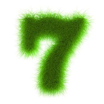 Nombre de polices d'herbe eco isolé sur fond blanc rendu 3d