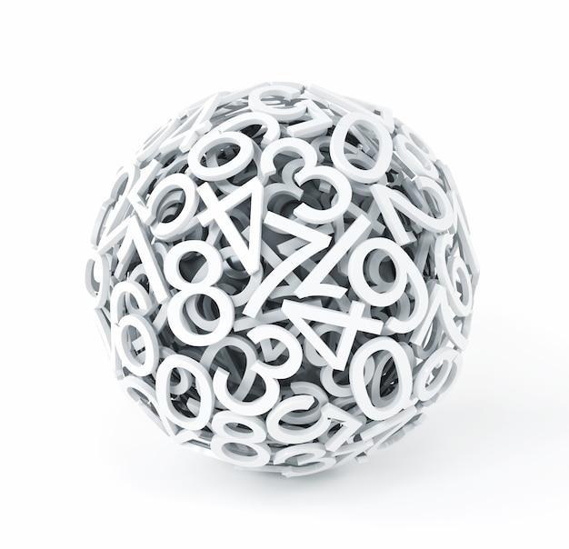 Nombres aléatoires formant une sphère sur blanc