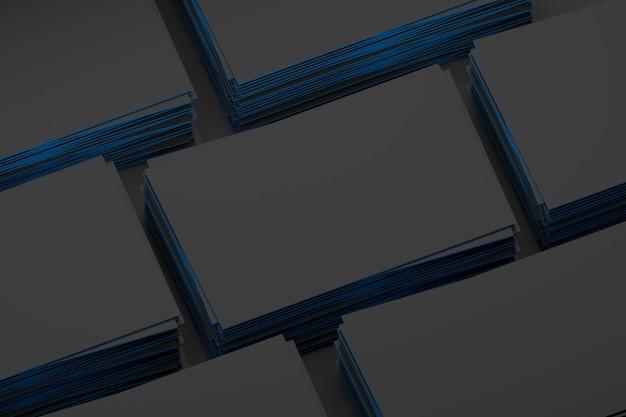 De nombreuses piles vides de cartes de visite noires à bords bleus