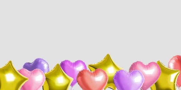 De nombreux ballons colorés en feuille d'hélium de différentes formes plus lumineux