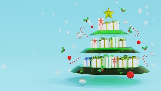 De nombreux coffrets cadeaux se trouvent sur des étagères en verre qui ressemblent à un arbre de noël. joyeux noel et bonne année.