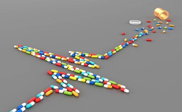 De nombreux comprimés dispersés sous la forme d'un cardiogramme du cœur du patient