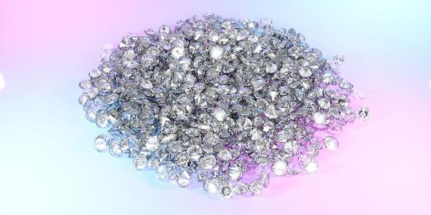 De nombreux diamants se trouvant dans un gros tas, illustration 3d