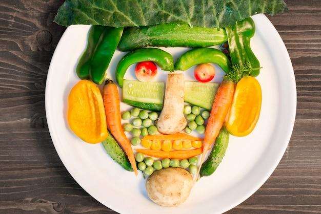 De nombreux légumes différents sont disposés sur une assiette