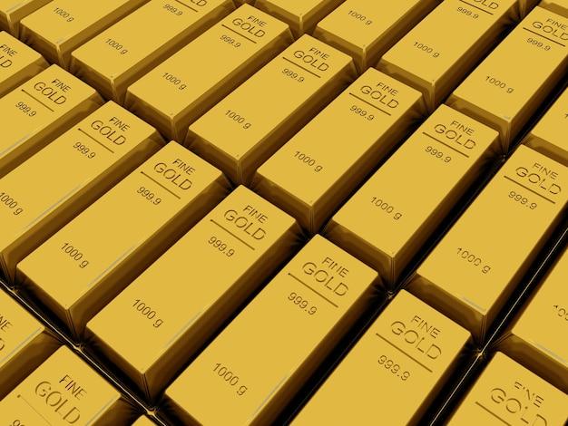 De nombreux lingots ou lingots d'or