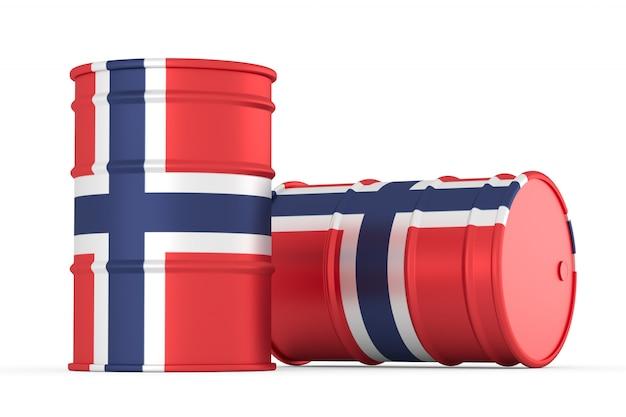 Norvège, barils de drapeau de style norvégien isolé