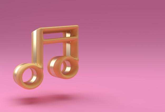 Note de musique dorée de rendu 3d. conception d'illustration d'affiche de dépliant.