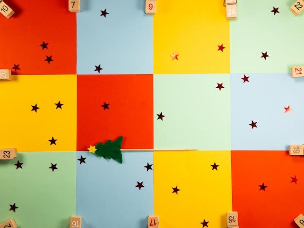 Note de papier de couleur de détail pour joyeux noël, joyeux noël et bonne année.