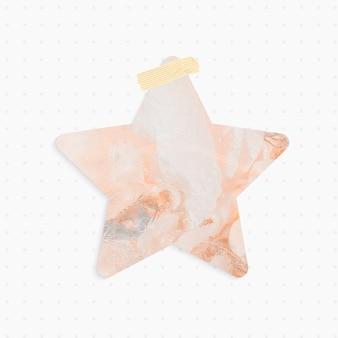 Note de papier avec forme d'étoile de fond abstrait pastel et ruban washi