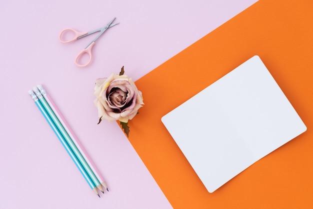 Note spatiale pastel avec fleur et crayon sur fond de papier pastel