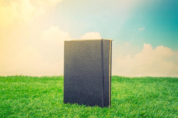Notebook sur herbe de printemps vert
