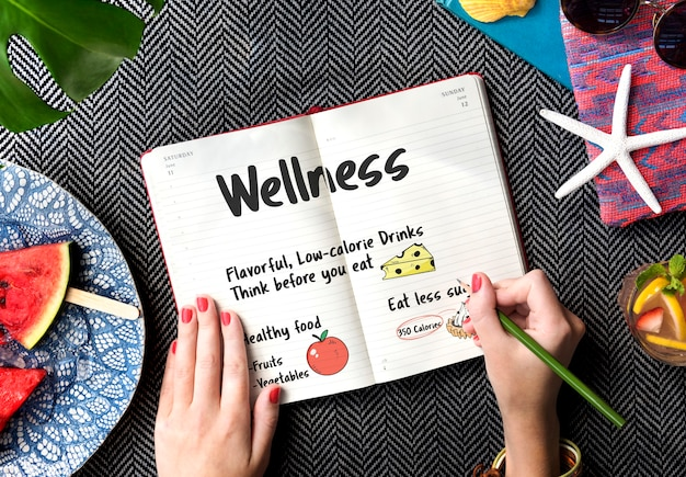 Notes d'alimentation saine pour faire la liste concept