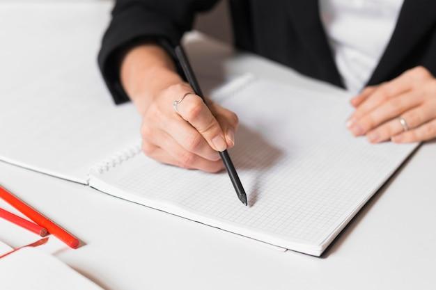 Notes de l'enseignant en gros plan