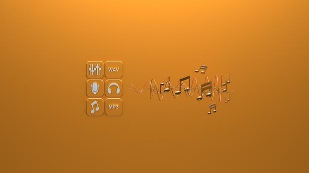 Notes de musique sur fond jaune rendu 3d