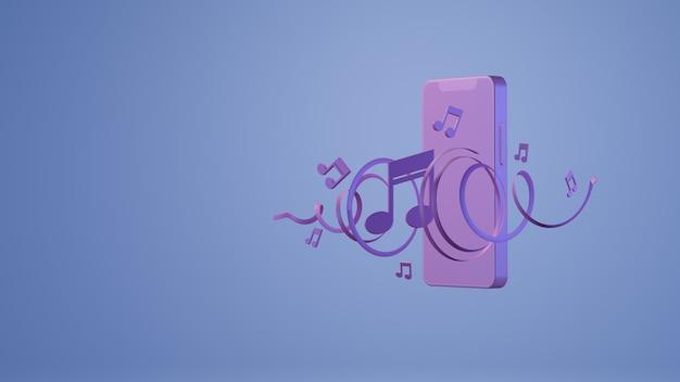 Notes de musique et rendu 3d de fond de smartphone