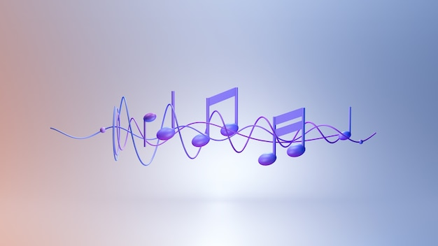 Notes de musique rendu 3d de fond