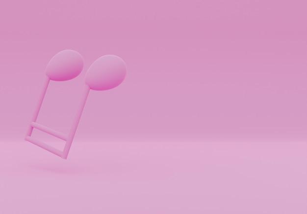 Notes de musique de rendu 3d rose isolé