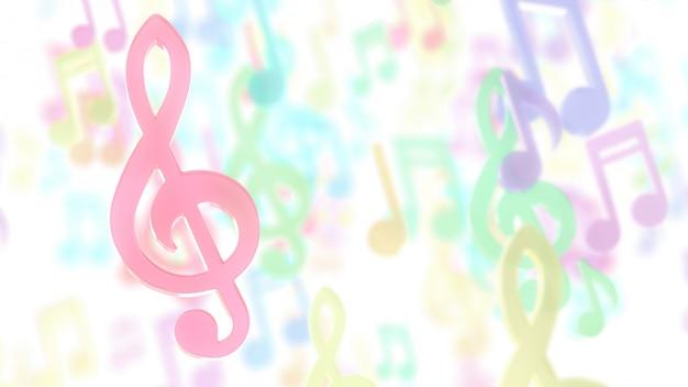 Notes de musique roses sur des notes de musique floues pastel