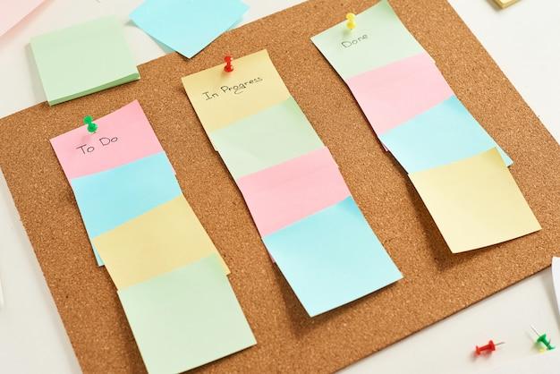 Notes de papier colorées avec des mots