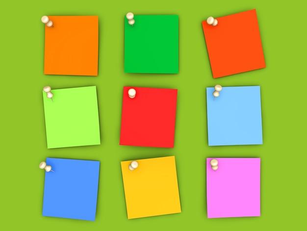 Notes de papier épinglées de différentes couleurs. illustration de rendu 3d.